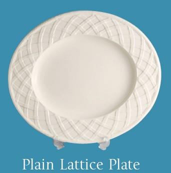 Hartley Greens Leeds Pottery Plain Lattice Plate -0