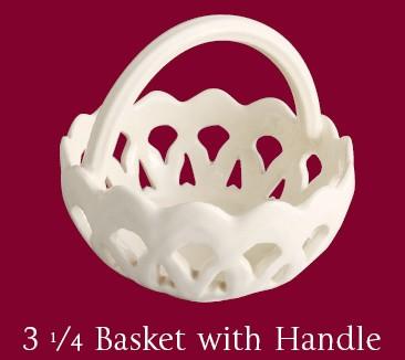 Leeds pottery 3 1/4 Basket with Handle-0
