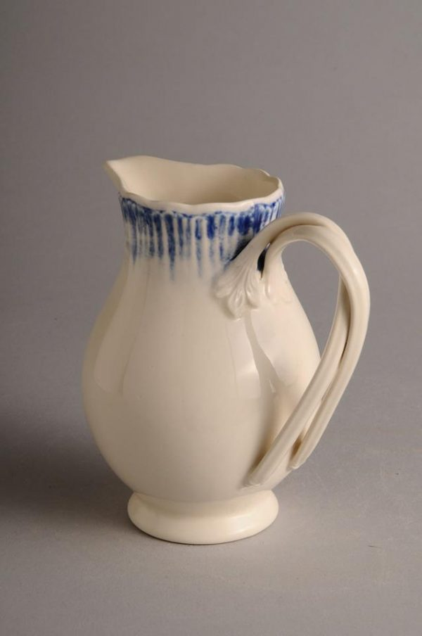 Hartley Greens Leeds Pottery Blue Shell Edge Cream / Milk Jug-0