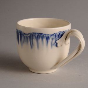 Hartley Greens Leeds Pottery Blue Shell Edge Tea Cup-0