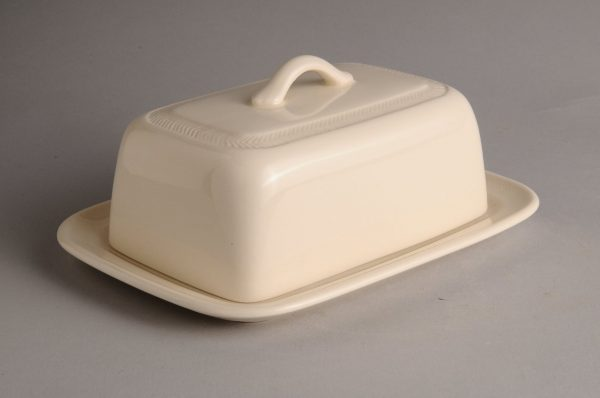 Hartley Greens Leeds Pottery Hunslet Covered Butter Dish -0