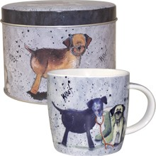 Alex Clark Dog Labrador Westie Terrier Mug in Tin-0