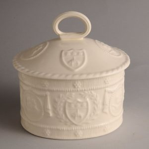 Hartley Greens & Co Leeds Pottery Embossed Lidded Storage Jar -0