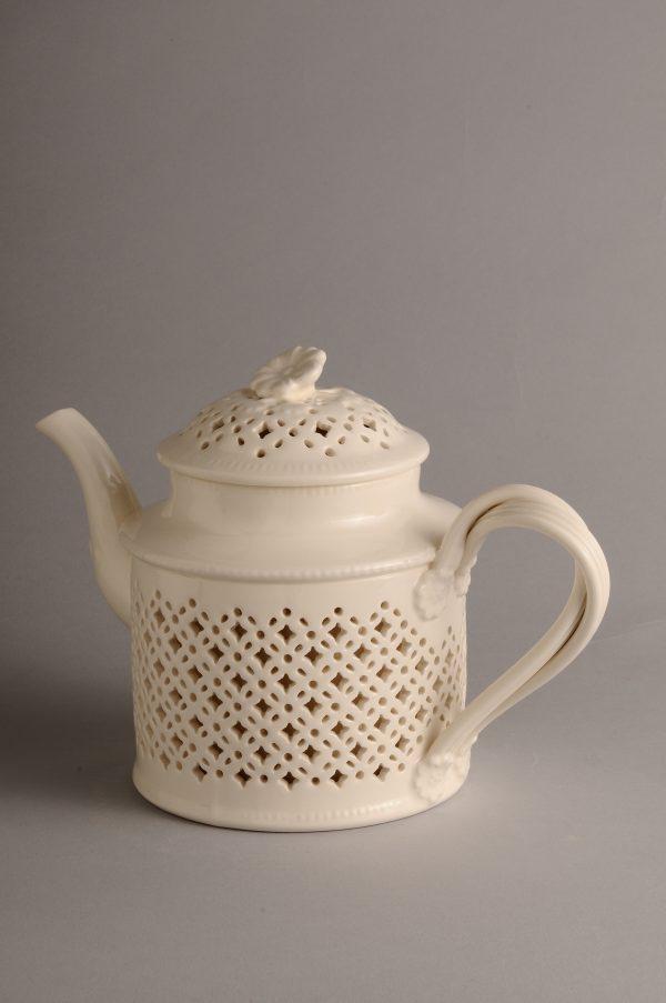 Hartley Greens Leeds Pottery Creamware Pierced Teapot -0