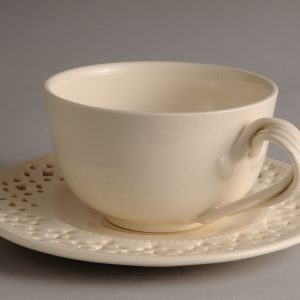 Hartley Greens Leeds Pottery Tea Cup & Pierced Saucer-0
