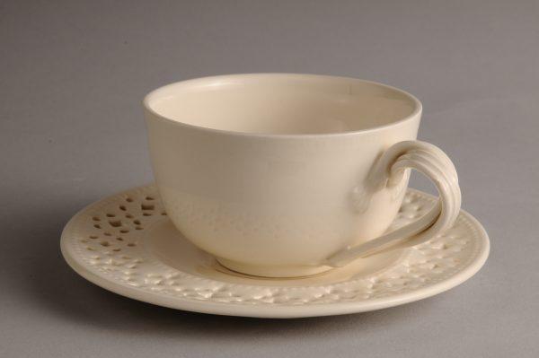 Hartley Greens Leeds Pottery Tea Cup & Pierced Saucer-0