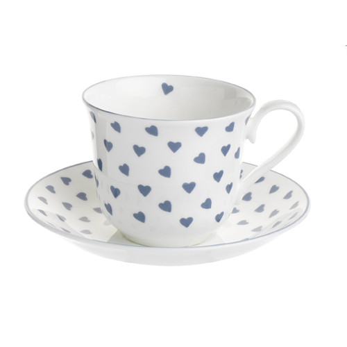 Nina Campbell Blue Heart Chatsworth Cup and Saucer -0