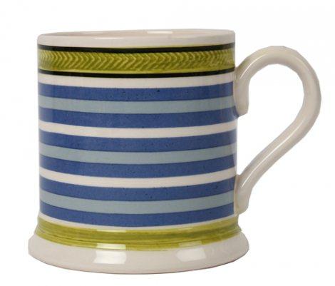 Leeds Pottery Mochaware Blue Striped Mug-0