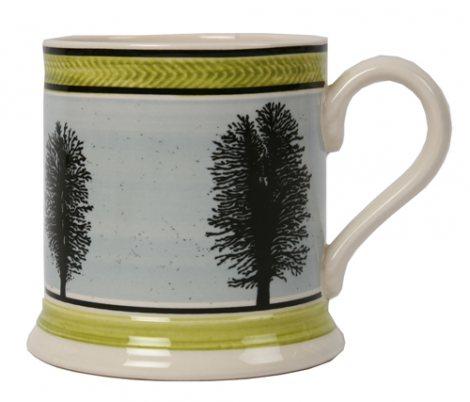Leeds Pottery Mochaware Blue Tree Mug Seaweed Design -0