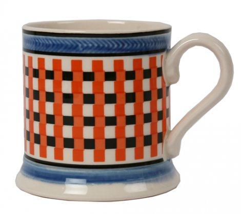 Leeds Pottery Mochaware Coral Chequer Mug-0