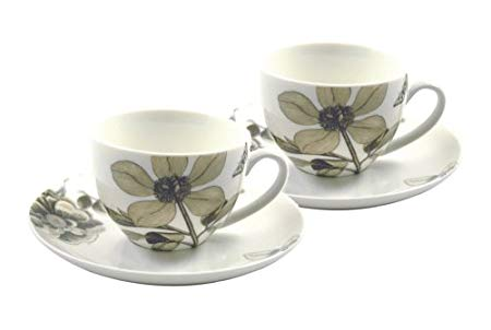 Sanderson Etchings & Roses Set Of 2 Espresso Cups & Saucers Gift Boxed-0
