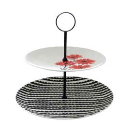 Lisa Stickley Red Fig Daisy 2 Tier Fine Bone China Cake Stand-0