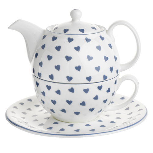 Nina Campbell Blue Hearts Tea For One Teapot, Cup & Saucer-0