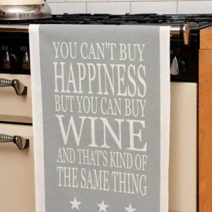 Green & Co Wine Happiness Tea Towel-0