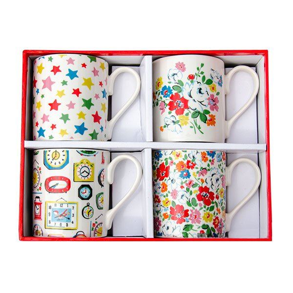 Cath Kidston Stars & Floral Set Of 4 Gift Boxed Mugs-0