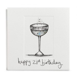 Janie Wilson Crystal 21st Birthday Diamond Champagne Card-0