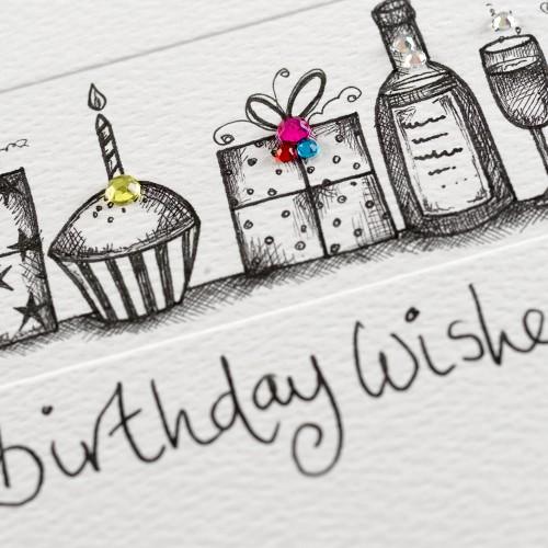 Janie Wilson Crystal Birthday Wishes Diamond Card-1442