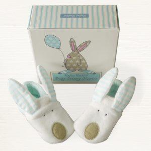 Rufus Rabbit Baby Boy Slippers 0-6 Months-0