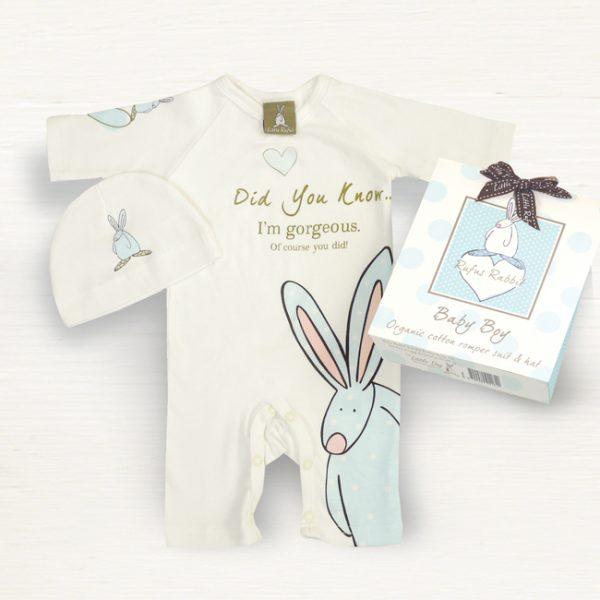 Rufus Rabbit Baby Boy Romper Suit & Hat Gift Set-0