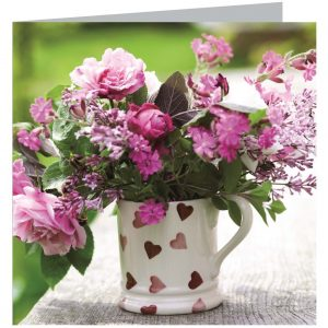 Emma Bridgewater Pink Hearts Spray Flower Card-0