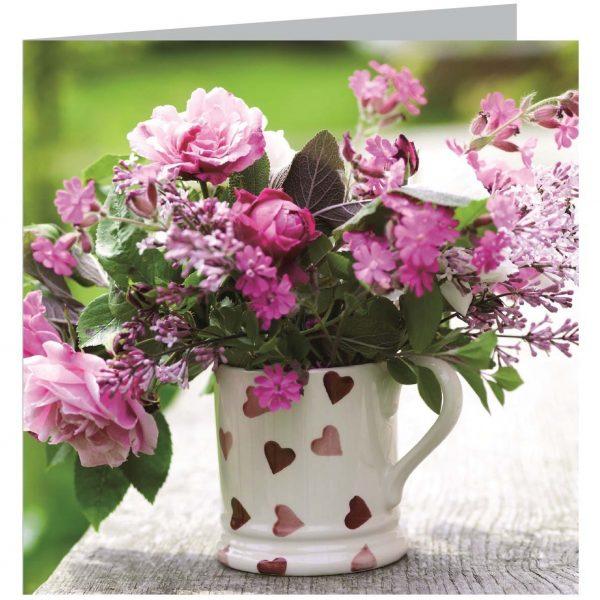 Emma Bridgewater Pink Hearts Spray Flower Card-0