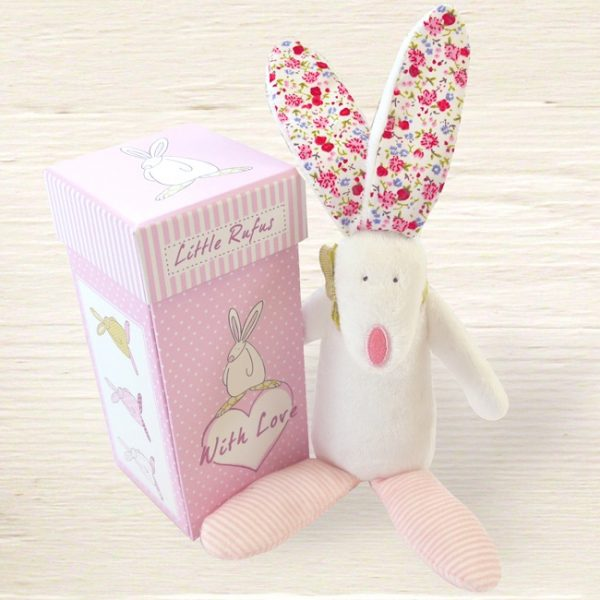 Rufus Rabbit Baby Girl Rattle-0