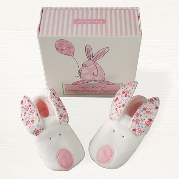 Rufus Rabbit Baby Girl Slippers 0-6 Months-0