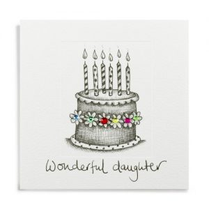 Janie Wilson Wonderful Daughter Birthday Cake Card-0