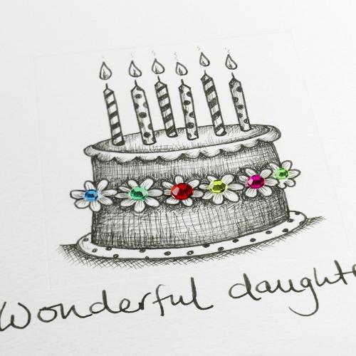 Janie Wilson Wonderful Daughter Birthday Cake Card-1669