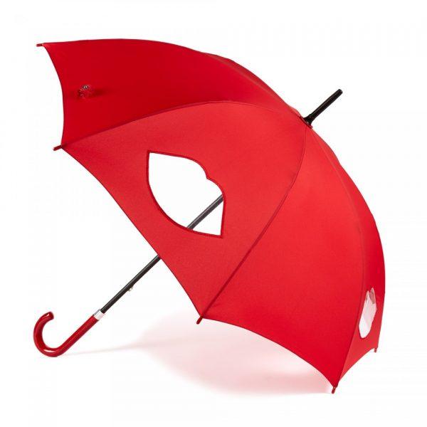 Lulu Guinness Red Cut Out Lips Kensington Umbrella-0