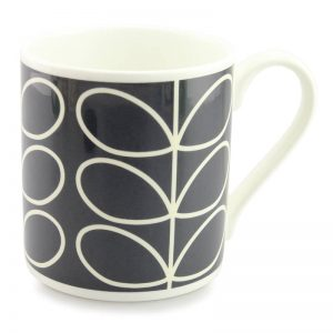 Orla Kiely Linear Stem Quite Big Charcoal Grey Mug-0