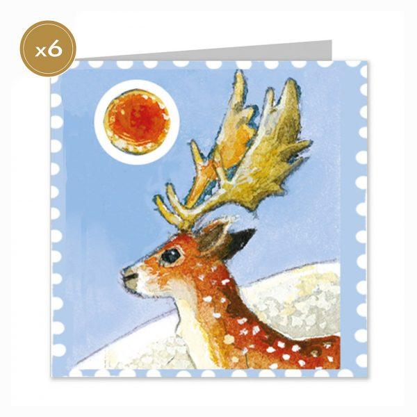 Emma Bridgewater Reindeer Stamp Christmas Cards x 5-0
