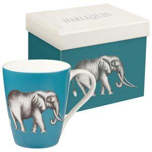 Harlequin Savanna Elephant Lagoon Mug-0