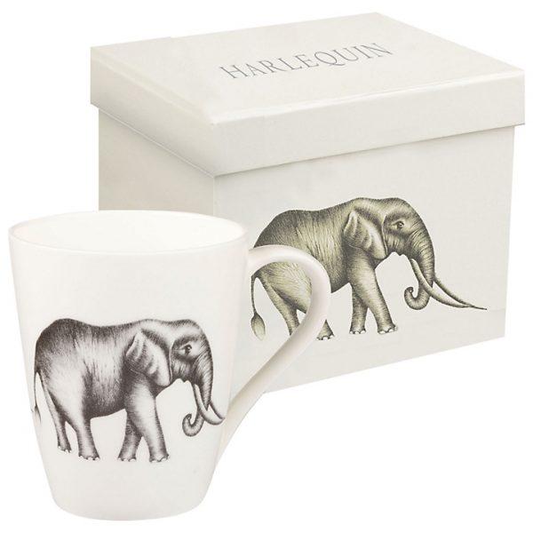 Harlequin Savanna Elephant White Mug-0