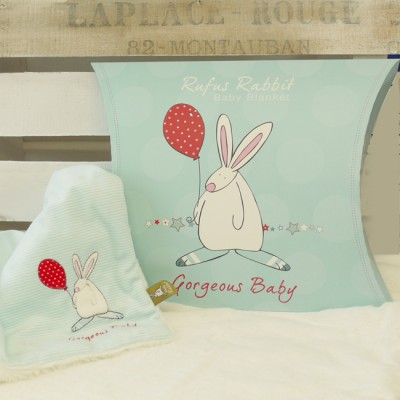 Rufus Rabbit Baby Boy Snuggle Blanket-0