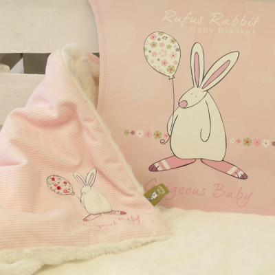 Rufus Rabbit Baby Girl Snuggle Blanket -0