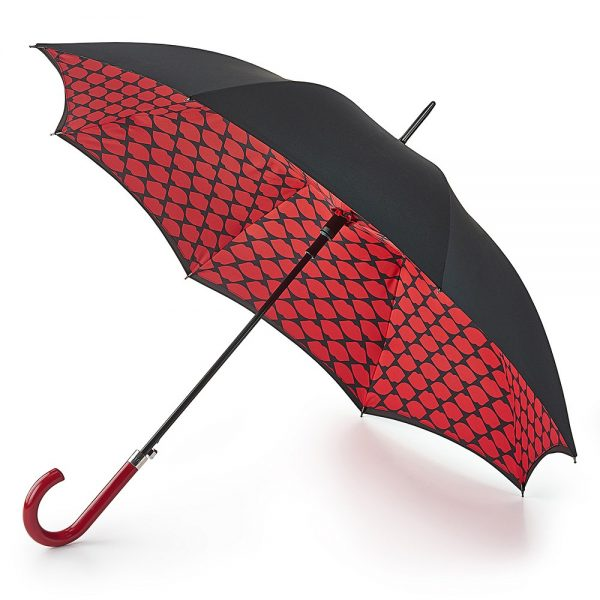 Lulu Guinness Bloomsbury Lips Grid Black Umbrella-0