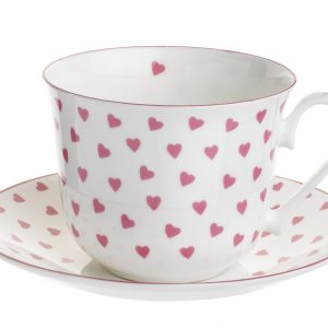 Nina Campbell Pink Heart Breakfast Cup & Saucer-0