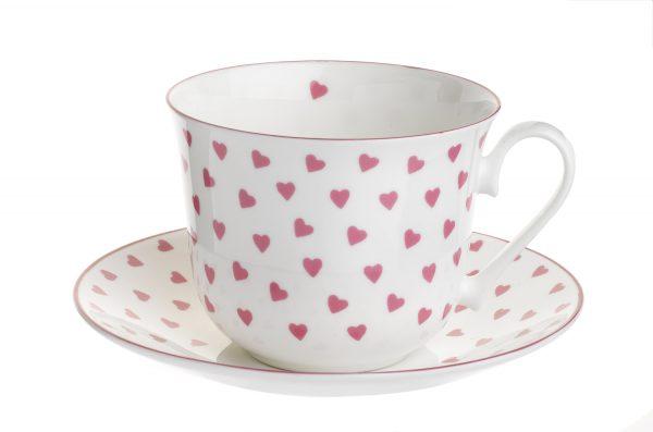 Nina Campbell Pink Heart Breakfast Cup & Saucer-0