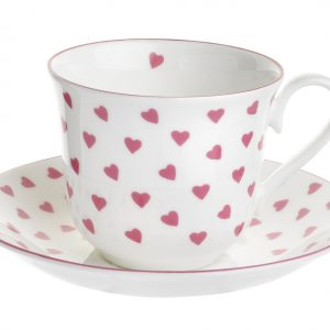 Nina Campbell Pink Heart Chatsworth Tea Cup & Saucer-0
