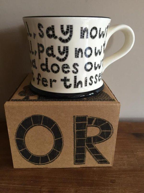Moorland Pottery 'Ear all, see all, say nowt' Mug Gift Boxed-2023