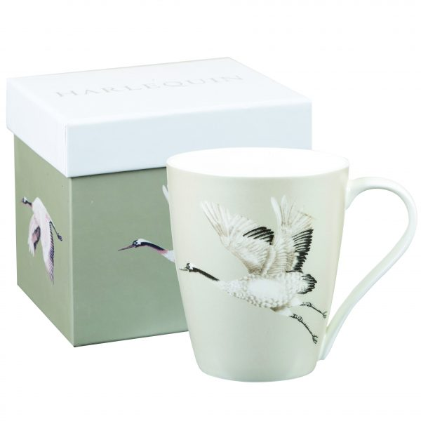 Harlequin Cranes In Flight Platinum Gift Boxed Mug-0