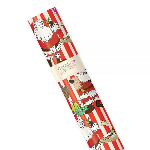 Caroline Gardner Santa Stripe Christmas Roll Gift Wrap-0