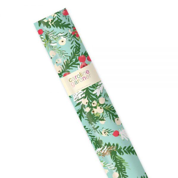 Caroline Gardner Snowy Floral Christmas Roll Gift Wrap-0