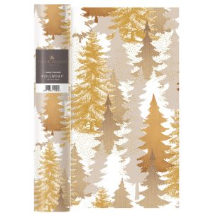 Sara Miller Gold Trees Christmas Roll Gift Wrap-0