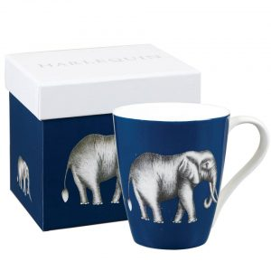 Harlequin Savanna Elephant Ink Blue Mug-0