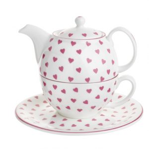 Nina Campbell Pink Hearts Tea For One Teapot, Cup & Saucer-0