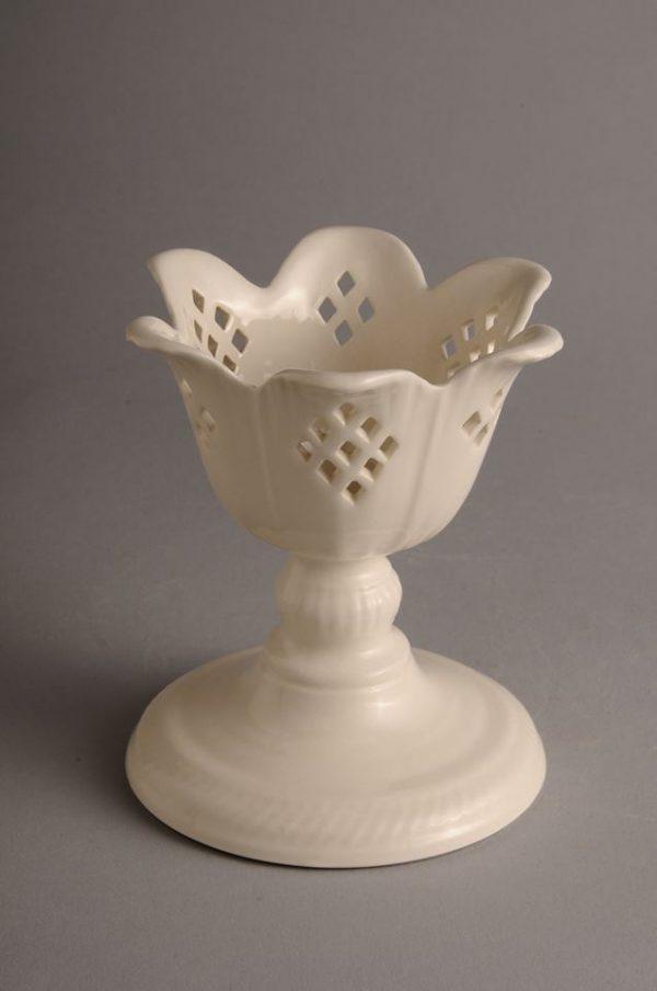 Hartley Greens Leeds Pottery Pierced Tulip Candle Holder Diamond-0
