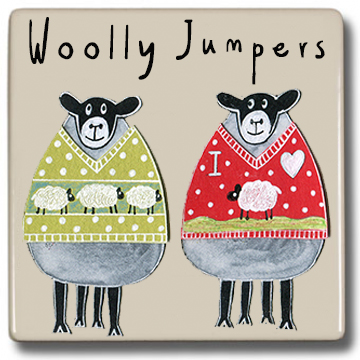 Moorland Pottery Sheep Woolly Jumpers Coaster