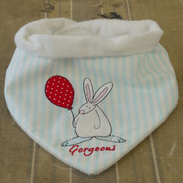 Rufus Rabbit Baby Boy Dribble Bib-0